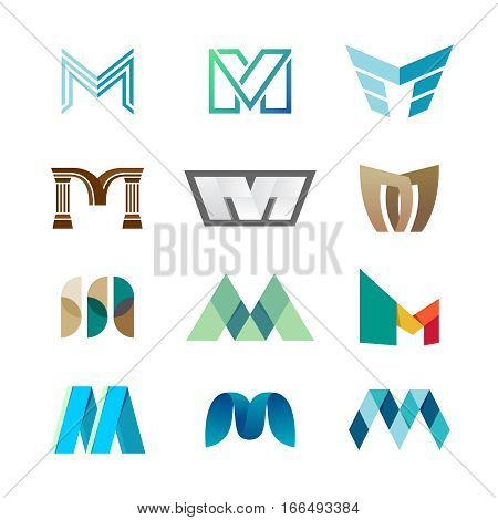 Letter M logo set. Color icon templates design. Set of colorful M letter symbols.
