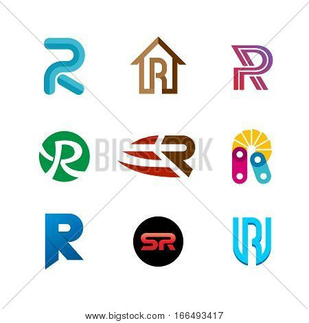 Letter R logo set. Color icon templates design. Set of colorful R letter symbols.