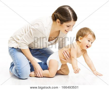 Mother and Crawling Toddler Kid Woman Parent Holding Child in Diaper Over White Background