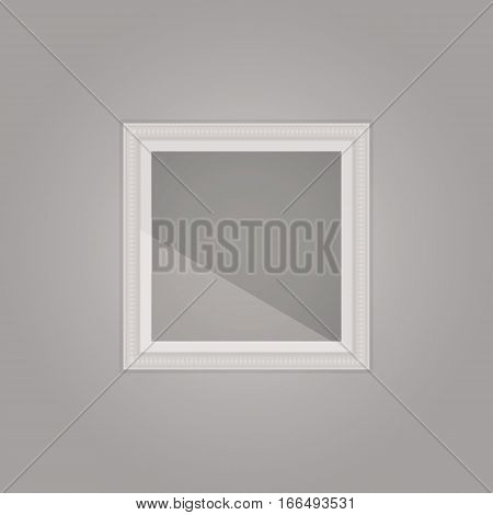 Created simple grey frame with mirror reflection stock vector