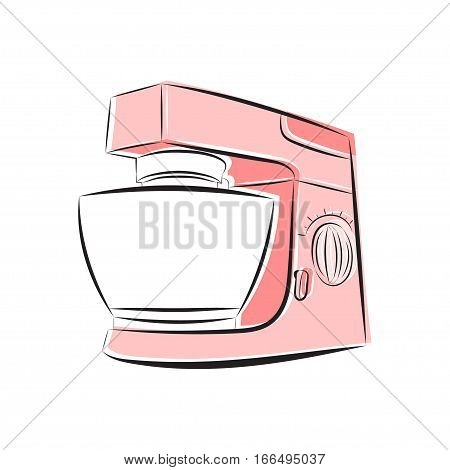 Vector illustration of a food processor in shades of pink on a white background.