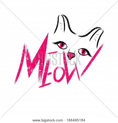 Vector illustration kitten calligraphy sign for printing. Cute cat poster with the words, ears, eyes and the sound meow.