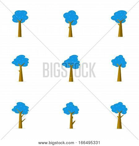 Vector flat of tree set collection stock