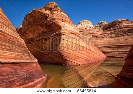 red eroded cliffs reflecting into the water in The Wave Arizona