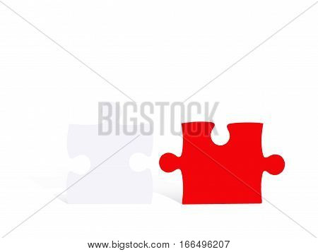 Red and white jigsaws isolated on white background concept for business success.