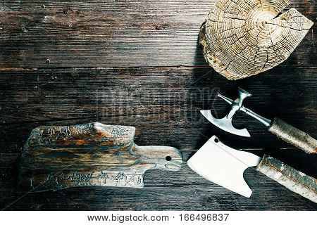 Butcher set for chopping meat: wood block, board and choppers. Top view