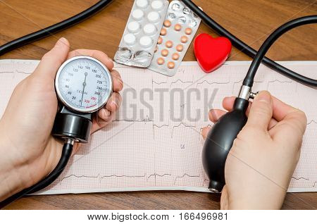 Blood pressure measuring above cardiogram and pills