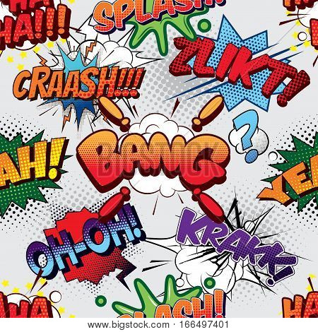 Bang Seamless comics background pop art poster