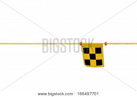 Checkered flag yellow and black tie for blocking a restricted area isolated on white background.
