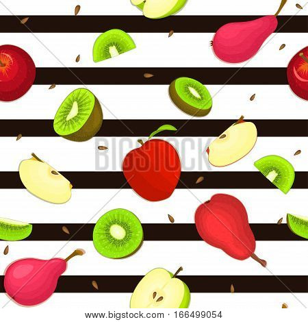 Seamless vector pattern of ripe apple kiwi pear fruit. Striped background with delicious juicy pears kiwifruit apples slice half. Vector fresh fruit Illustration for printing on fabric, textile design