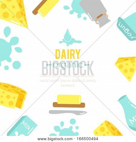 Vector dairy background. Cheese and yogurt icons design. Milk drops. Farm fresh products set. Dairy drinks in bottles. Flat argiculture collection.