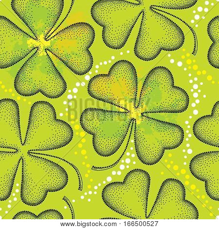 Vector seamless pattern with lucky dotted four leaf clover or shamrock in black on the green background with blots. Traditional symbol for St. Patrick day in dotwork style for floral design.