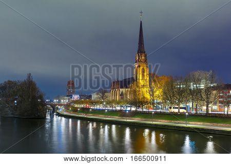 Lutheran parish church Dreikonigskirche, Three Kings or Three Wise Men church, on the bank of the Main river in Frankfurt am Main, Germany