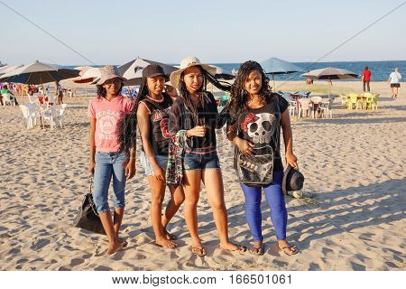 Malagasy Beauties, Teenager  Girls Resting On The Beach