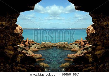 Cavern in Formentera island, Spain, Symmetrical photographs of landscapes of balearic islands,