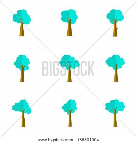 Illustration of tree set various stock vector flat