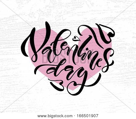Hand sketched Valentine's Day text as Valentine's Day logotype badge/icon. Valentine's Day poster/card/invitation/banner.  Valentine's Day calligraphy
