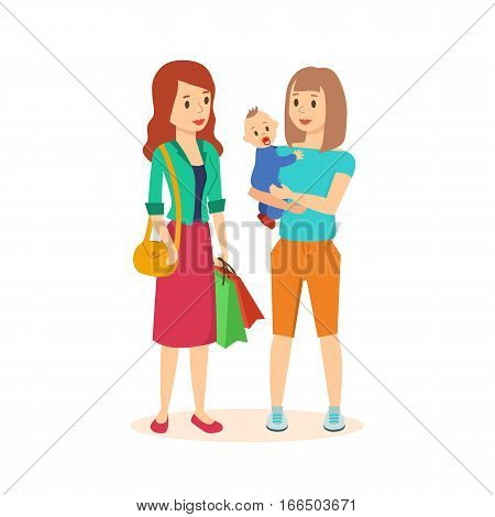 Shopping people. Two women in the store, a girl keeps at the hands of a small child, other women on the one hand she holds a bag in the other hand a few packages with goods. Vector illustration.