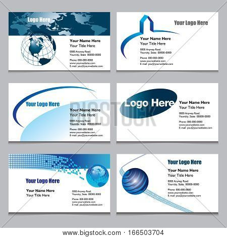 Set of six business cards ready for your text