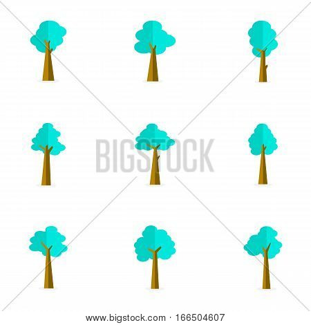 Vector flat of tree set stock collection