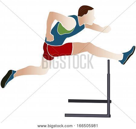 athlete runner hurdles colored silhouette vector illustration poster