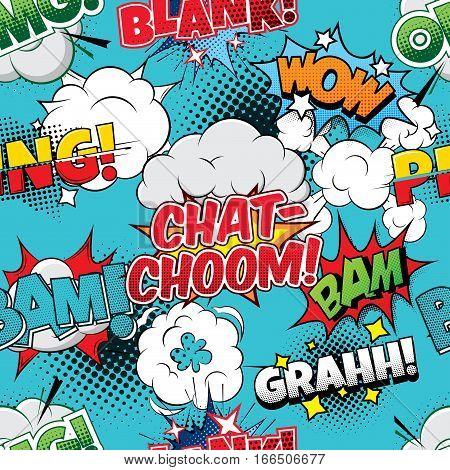 Chat-choom Seamless comics background pop art poster