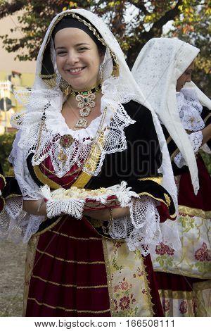 SELARGIUS, ITALY - September 9, 2012: Former marriage Selargino - Sardinia - folk group of Settimo San Pietro