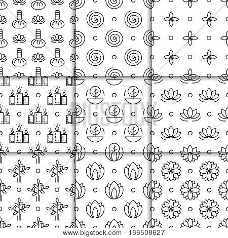 Set alternative medicine vector pattern with symbols of ayurvedic medicine and medicine herbs treatment. Patterns for packaging and wrapping paper products holistic, healthy lifestyle