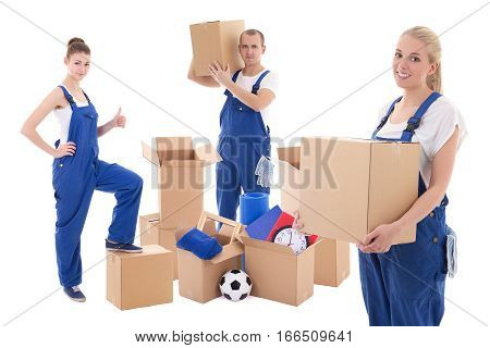 moving day concept - workers in blue workwear with cardboard boxes isolated on white background
