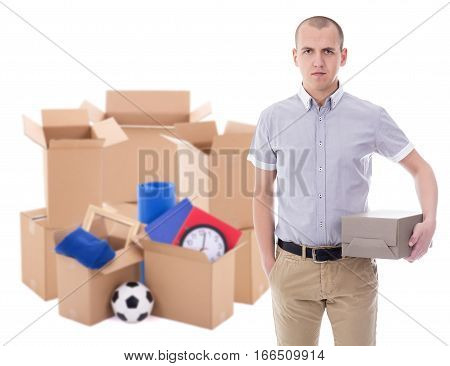 Moving Day Concept - Man With Brown Cardboard Boxes With Stuff Isolated On White