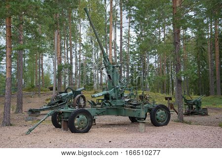 VIROLAHTI, FINLAND - AUGUST 30, 2016: German anti-aircraft gun during the Second world war in close-up. A fragment of a Finnish defensive line