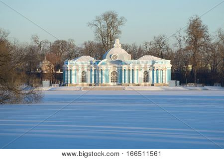 ST. PETERSBURG, RUSSIA - NOVEMBER 29, 2016: The Grotto pavilion in Catherine Park of Tsarskoye Selo in the frosty November afternoon