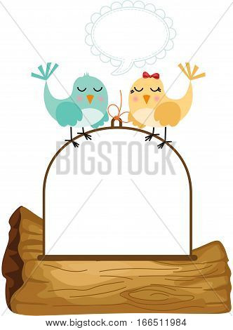 Scalable vectorial image representing a couple birds in love with speech balloon, isolated on white.