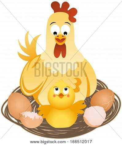 Scalable vectorial image representing a hen with chicks and eggs on nest, isolated on white.