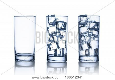 One empty one full with ice cubes and one full with water and ice cubes glass