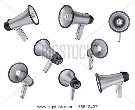 Megaphone collection isolated on a white background