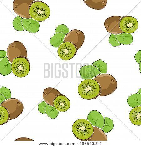 Seamless Pattern of Kiwifruit ,Fruit Pattern, Illustration