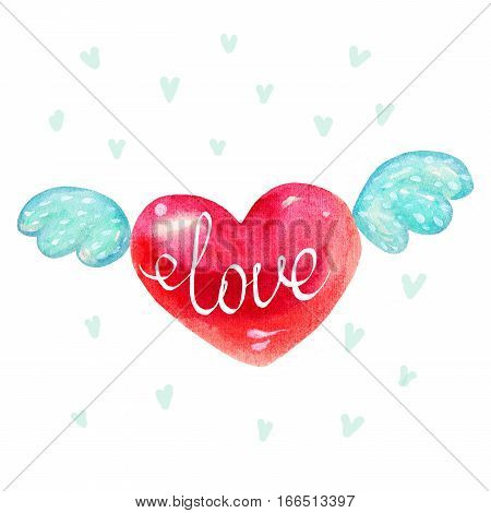 Cute watercolor heart with wings symbol illustration isolated on white background. lettering Love. Heart shape red color hand drawn sign. Good for love card valentine day congratulation design.