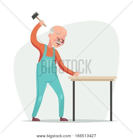 Old furniture maker hammers nail a table retro cartoon character vector illustration