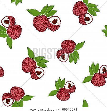 Seamless Pattern of Lichee, Fruit Pattern, Illustration