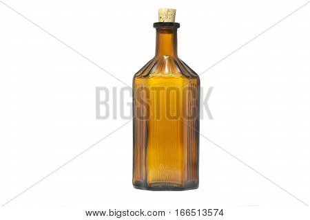 Vintage apothecary bottle with cork on white background