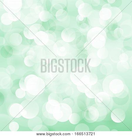 Green Soft Bright Abstract Bokeh Background, Soft Glow of the Sun, Defocused Lights