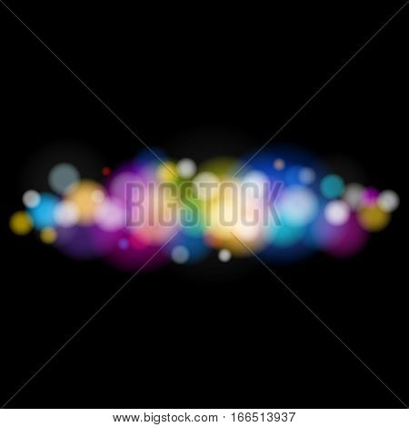 Soft Bright Abstract Bokeh Background, Bright Colored Defocused Lights on Black Background ,Defocused Lights