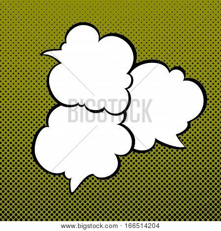 Speech Bubbles on Green Background with Black Dots ,Three Speech Bubbles on Pop Art Background, Speech Bubble on Halftone Background ,Conversation, Retro Style