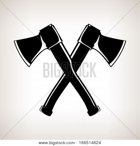 Crossed Axes Silhouette of Two Crossed Axes on a Light Background, Black and White Illustration
