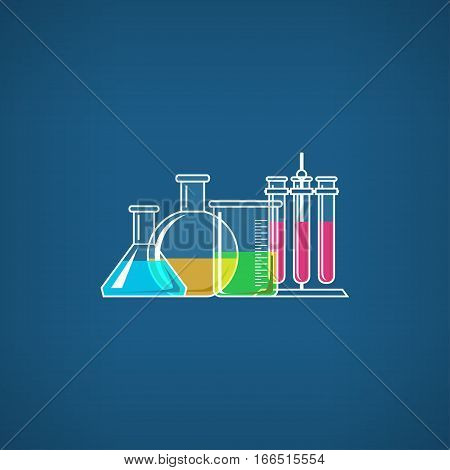 Flasks Beakers and Test-tube, Chemical Laboratory Equipment on Blue Background ,School Chemistry