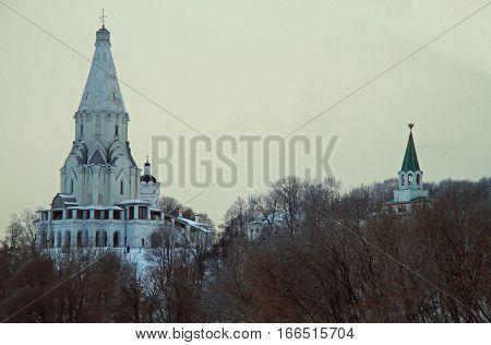 White Ascension Church In Former Royal Estate Kolomenskoye