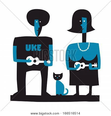 Man and woman playing the ukulele, simple vector illustration on white