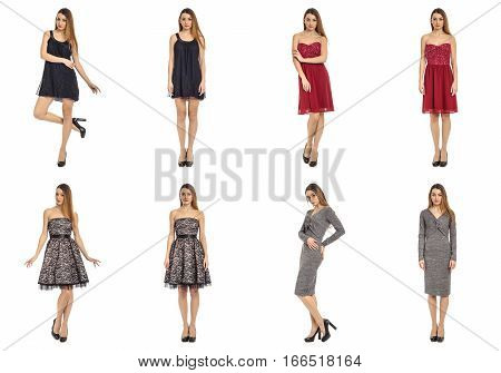 Collage Of Pretty Women Shoppers In Modern Dresses