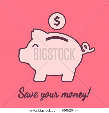 Piggybank symbol icon save money bank concept cash pink flat vector stock